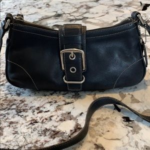 Coach leather crossbody black buckle
